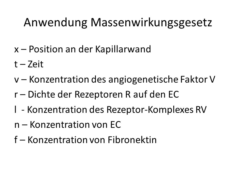 Anwendung Massenwirkungsgesetz x – Position an der Kapillarwand t – Zeit v – Konzentration des angiogenetische Faktor V r – Dichte der Rezeptoren R auf den EC l - Konzentration des Rezeptor-Komplexes RV n – Konzentration von EC f – Konzentration von Fibronektin