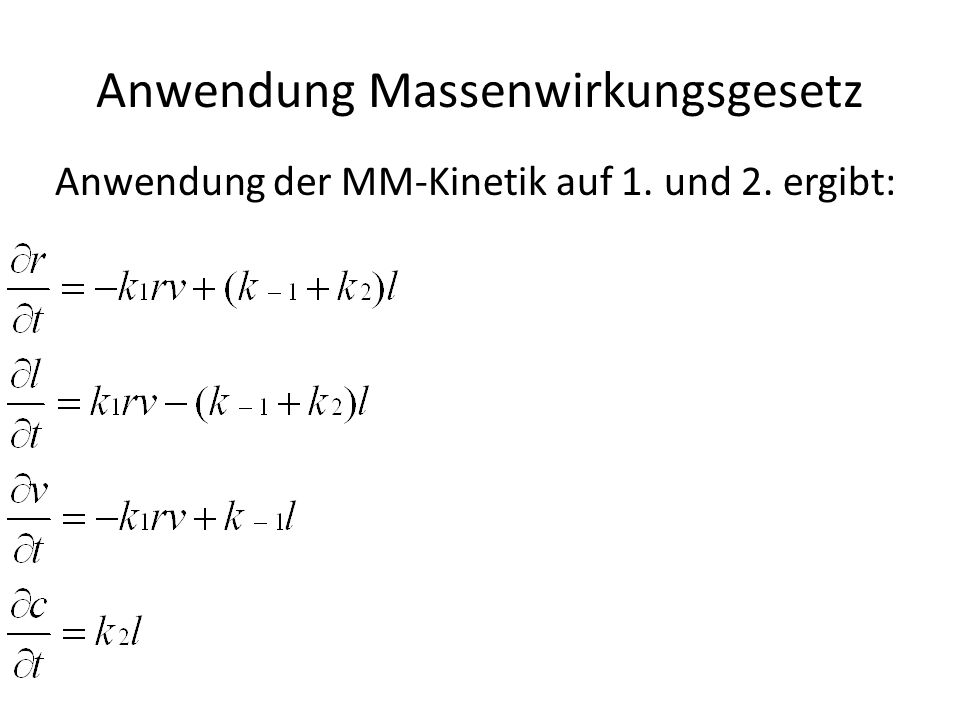 Anwendung MM-Kinetik Anwendung der MM-Kinetik auf 3. und 4. ergibt: