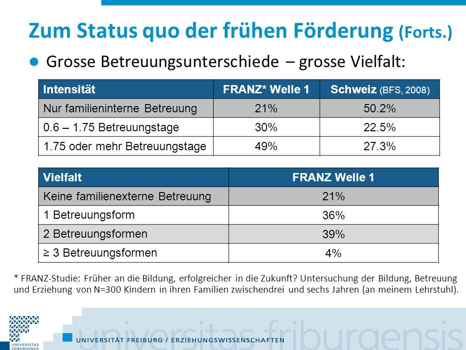 Zum Status quo der frühen Förderung (Forts.) Recht gut entwickelte institutionalisierte Praxis in der Schweiz, aber stark fragmentiert und häufig zufällig.