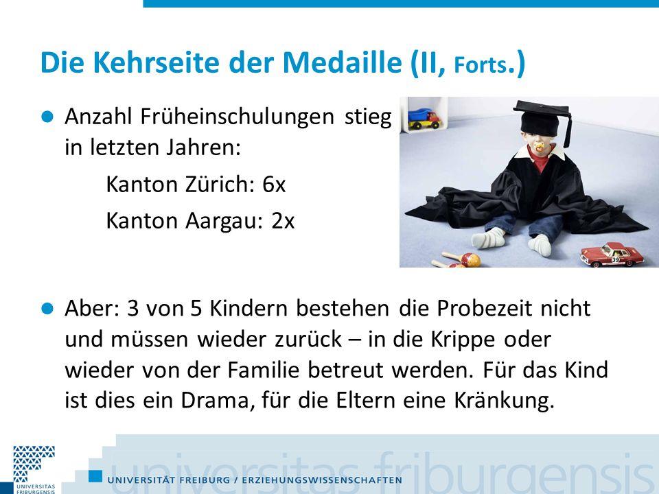 Die Kehrseite der Medaille (II, Forts.) Anzahl Früheinschulungen stieg in letzten Jahren: Kanton Zürich: 6x Kanton Aargau: 2x Aber: 3 von 5 Kindern be