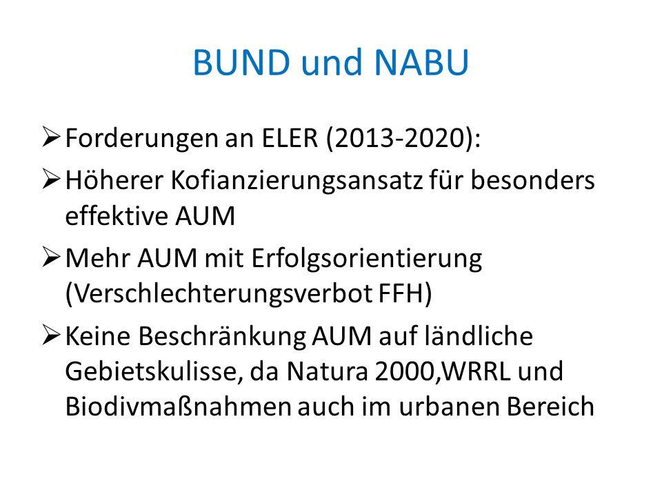 BUND und NABU Forderungen an ELER (2013-2020): Höherer Kofianzierungsansatz für besonders effektive AUM Mehr AUM mit Erfolgsorientierung (Verschlechte
