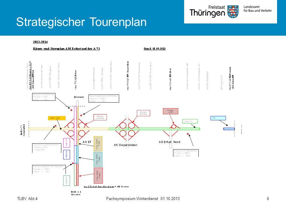 TLBV Abt 4Fachsymposium Winterdienst 01.10.20136 Strategischer Tourenplan