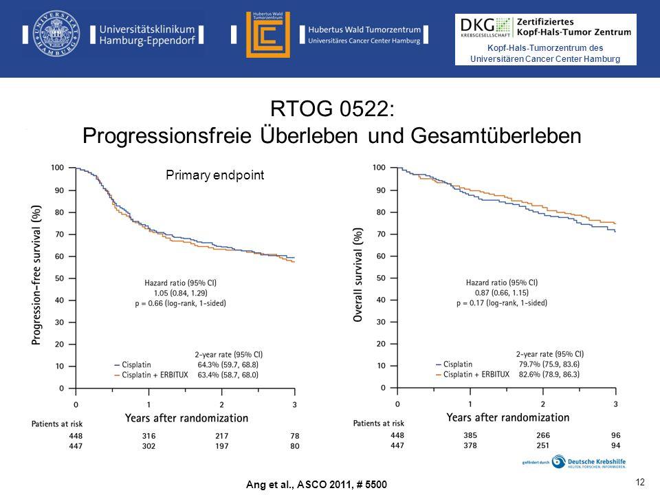 Kopf-Hals-Tumorzentrum des Universitären Cancer Center Hamburg RTOG 0522: Progressionsfreie Überleben und Gesamtüberleben Ang et al., ASCO 2011, # 5500 Primary endpoint 12