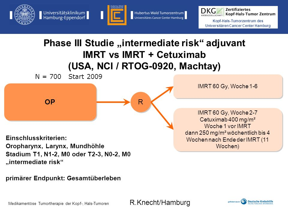 Kopf-Hals-Tumorzentrum des Universitären Cancer Center Hamburg Medikamentöse Tumortherapie der Kopf-, Hals-Tumoren Phase III Studie intermediate risk