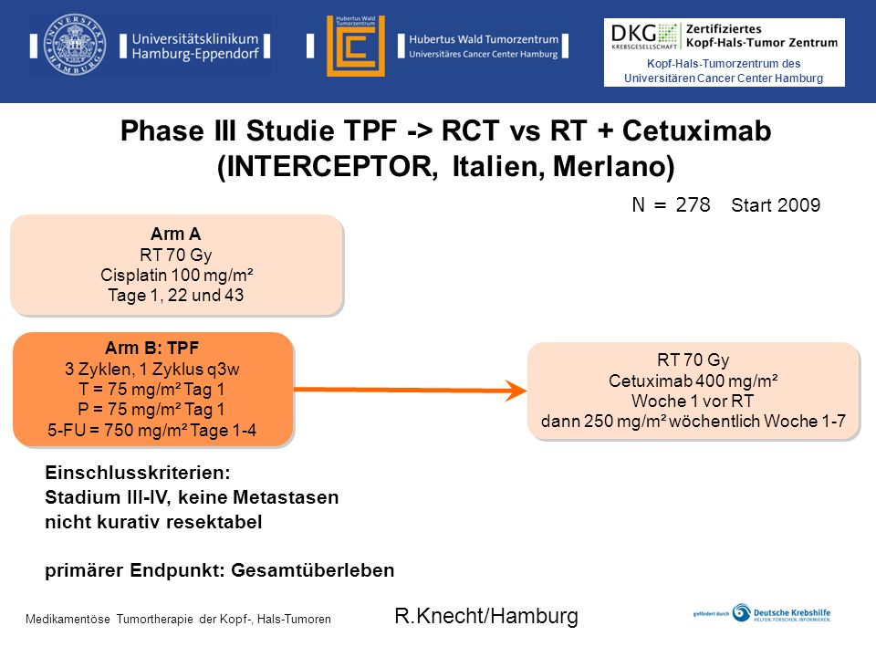 Kopf-Hals-Tumorzentrum des Universitären Cancer Center Hamburg Medikamentöse Tumortherapie der Kopf-, Hals-Tumoren Phase III Studie TPF -> RCT vs RT +