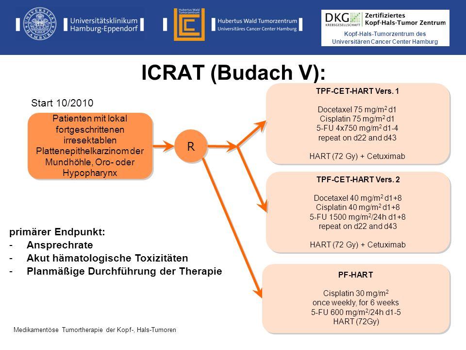 Kopf-Hals-Tumorzentrum des Universitären Cancer Center Hamburg Medikamentöse Tumortherapie der Kopf-, Hals-Tumoren ICRAT (Budach V): Phase II Studie TPF-CET-HART vs PF-HART primärer Endpunkt: -Ansprechrate -Akut hämatologische Toxizitäten -Planmäßige Durchführung der Therapie Patienten mit lokal fortgeschrittenen irresektablen Plattenepithelkarzinom der Mundhöhle, Oro- oder Hypopharynx R R PF-HART Cisplatin 30 mg/m 2 once weekly, for 6 weeks 5-FU 600 mg/m 2 /24h d1-5 HART (72Gy) PF-HART Cisplatin 30 mg/m 2 once weekly, for 6 weeks 5-FU 600 mg/m 2 /24h d1-5 HART (72Gy) TPF-CET-HART Vers.