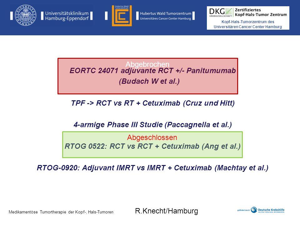 Kopf-Hals-Tumorzentrum des Universitären Cancer Center Hamburg Sym-004 HN Phase II, n= 25; Start 2011; Ende: 2012 Patienten in rezidivierter/ metastasierter Situation nach platinumbasierter Chemo + Cetuximab Ansprechen auf Cetuximab >8 Wochen Failure