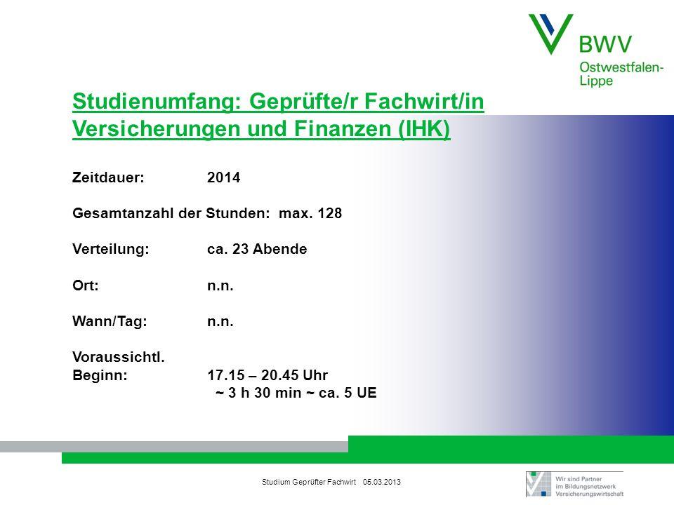 Studium Geprüfter Fachwirt 05.03.2013 Studienumfang: Geprüfte/r Fachwirt/in Versicherungen und Finanzen (IHK) Zeitdauer:2014 Gesamtanzahl der Stunden: