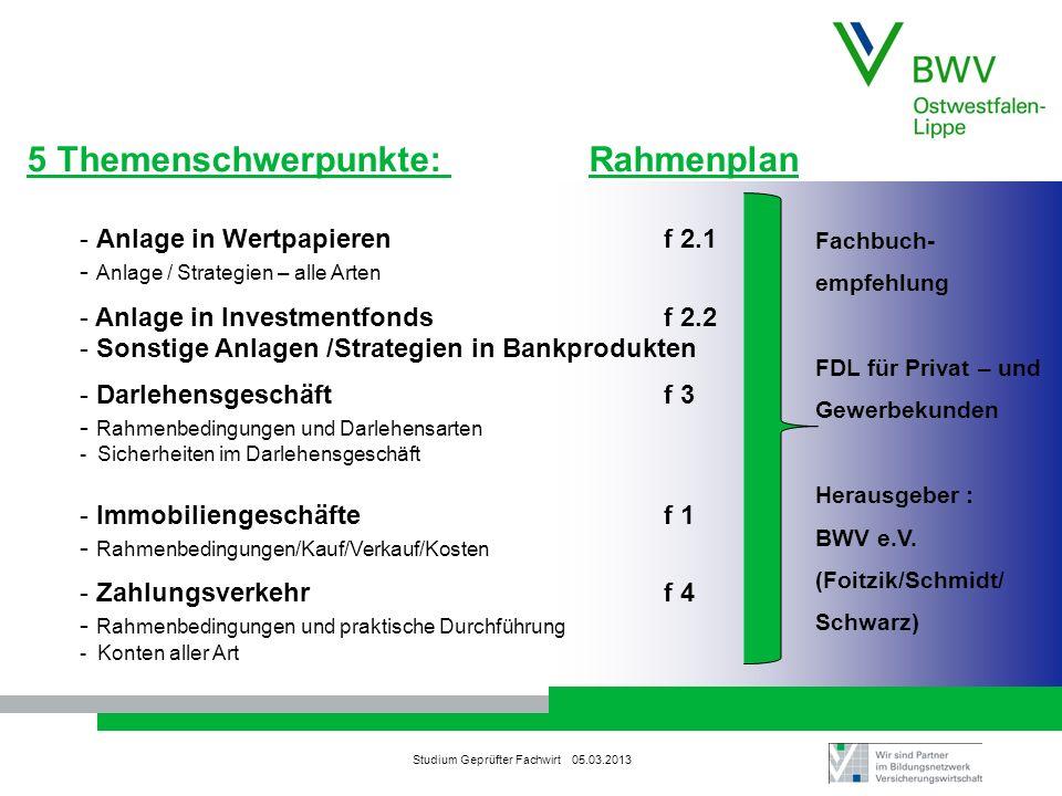 Studium Geprüfter Fachwirt 05.03.2013 5 Themenschwerpunkte: Rahmenplan - Anlage in Wertpapieren f 2.1 - Anlage / Strategien – alle Arten - Anlage in I