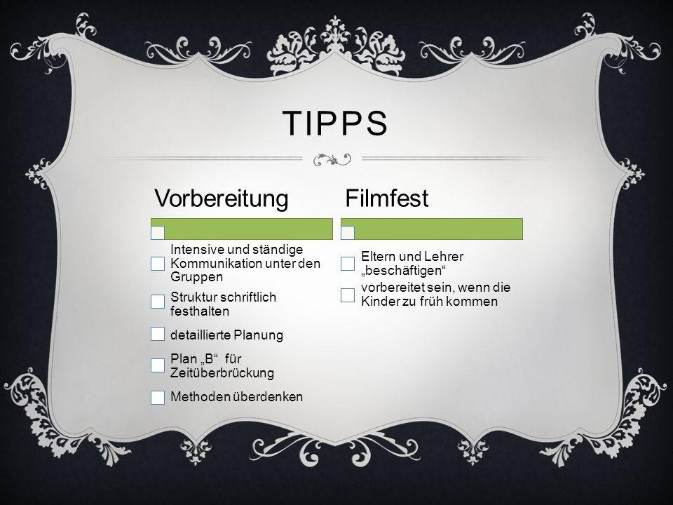 TIPPS Vorbereitung Intensive und ständige Kommunikation unter den Gruppen Struktur schriftlich festhalten detaillierte Planung Plan B für Zeitüberbrüc