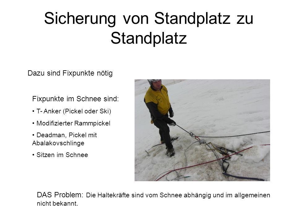 Fixpunkte im Schnee sind: T- Anker (Pickel oder Ski) Modifizierter Rammpickel Deadman, Pickel mit Abalakovschlinge Sitzen im Schnee Dazu sind Fixpunkt