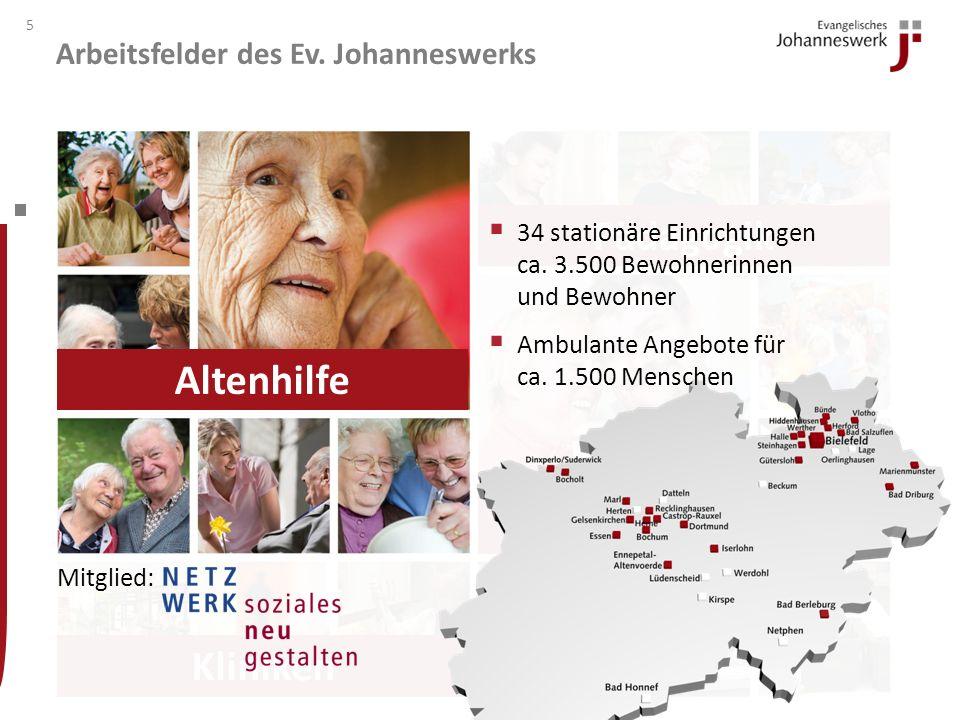 Arbeitsfelder des Ev. Johanneswerks 4 Behindertenhilfe Altenhilfe Pädagogik Kliniken Altenhilfe Behindertenhilfe Pädagogik Kliniken