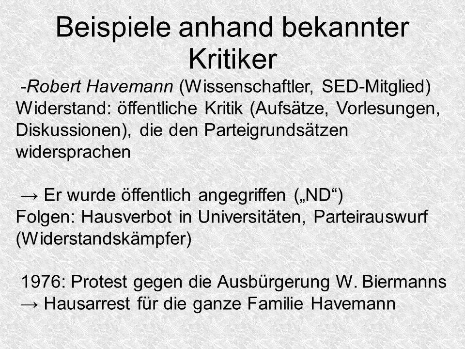 Beispiele anhand bekannter Kritiker -Robert Havemann (Wissenschaftler, SED-Mitglied) Widerstand: öffentliche Kritik (Aufsätze, Vorlesungen, Diskussion