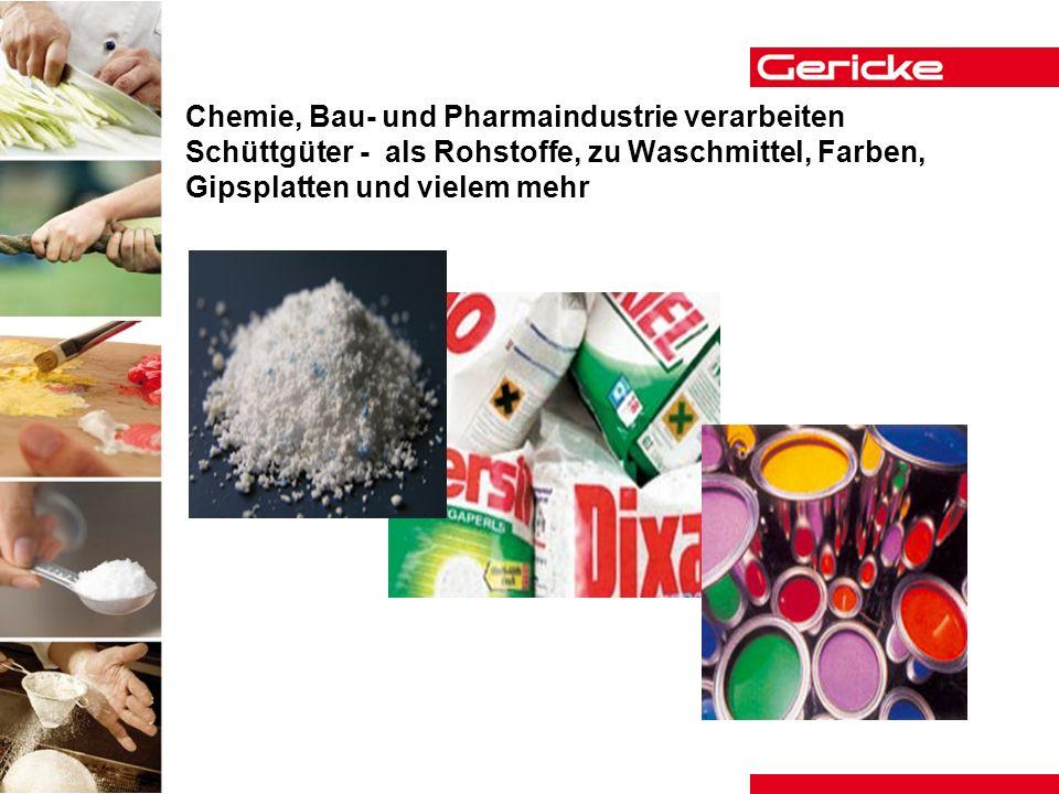 Chemie, Bau- und Pharmaindustrie verarbeiten Schüttgüter - als Rohstoffe, zu Waschmittel, Farben, Gipsplatten und vielem mehr