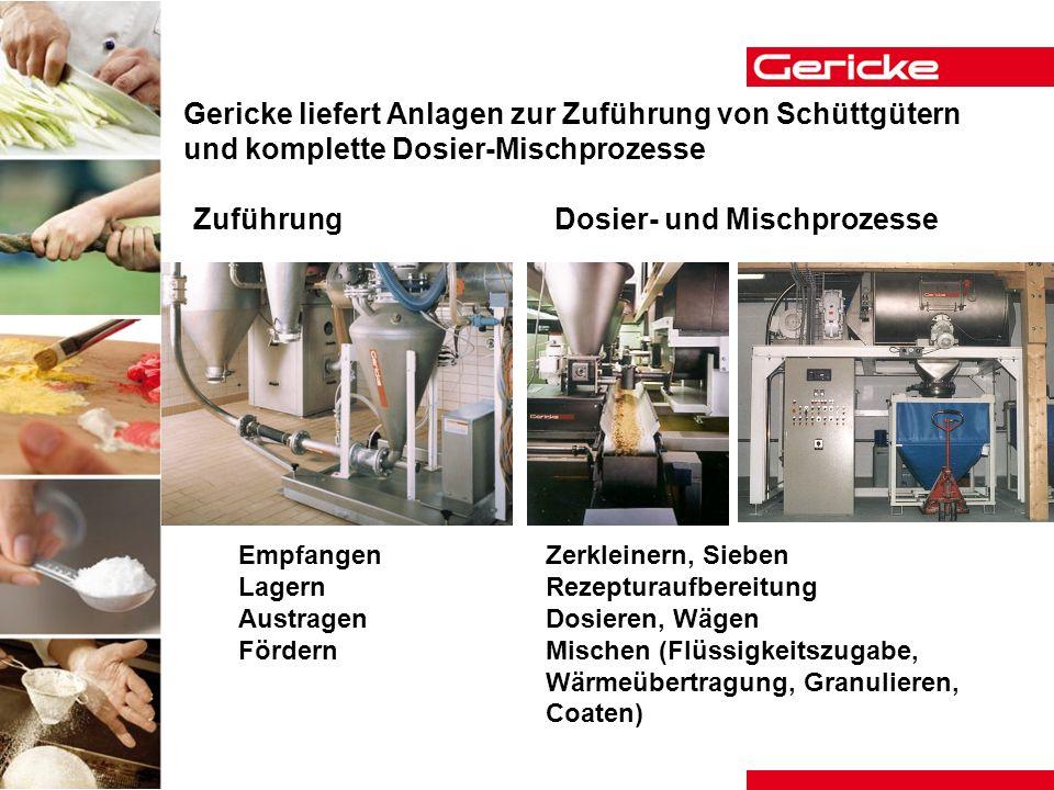 Gericke liefert Anlagen zur Zuführung von Schüttgütern und komplette Dosier-Mischprozesse Empfangen Lagern Austragen Fördern ZuführungDosier- und Misc