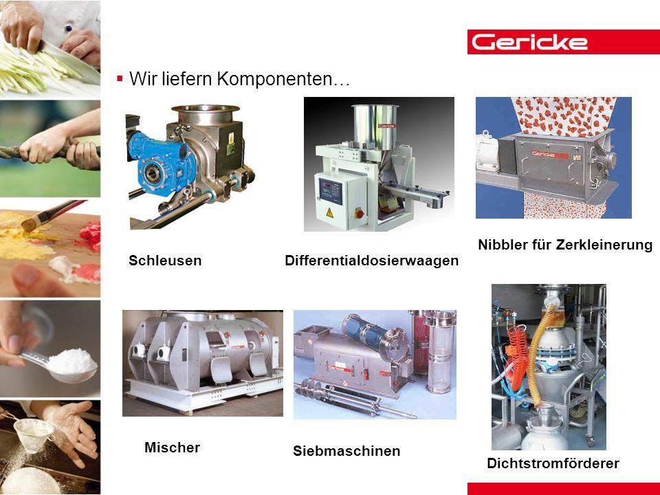 Wir liefern Komponenten… Schleusen Nibbler für Zerkleinerung Differentialdosierwaagen Mischer Siebmaschinen Dichtstromförderer
