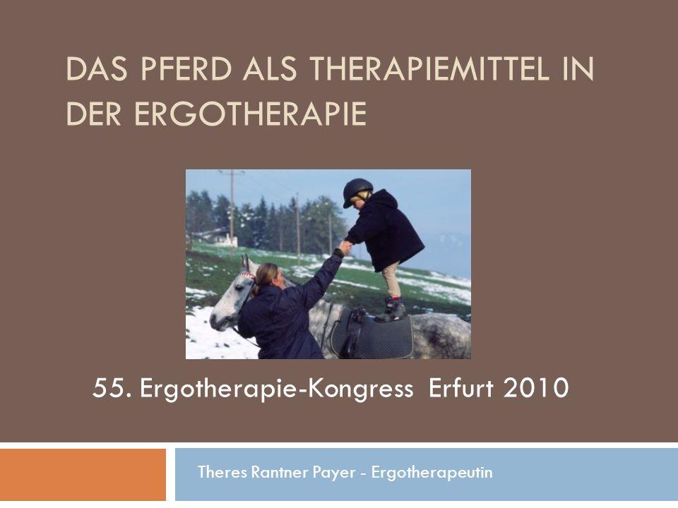 DAS PFERD ALS THERAPIEMITTEL IN DER ERGOTHERAPIE Theres Rantner Payer - Ergotherapeutin 55. Ergotherapie-Kongress Erfurt 2010