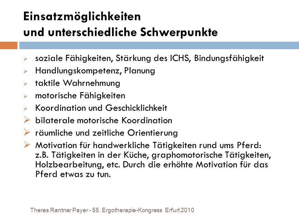 Einsatzmöglichkeiten und unterschiedliche Schwerpunkte Theres Rantner Payer - 55. Ergotherapie-Kongress Erfurt 2010 soziale Fähigkeiten, Stärkung des