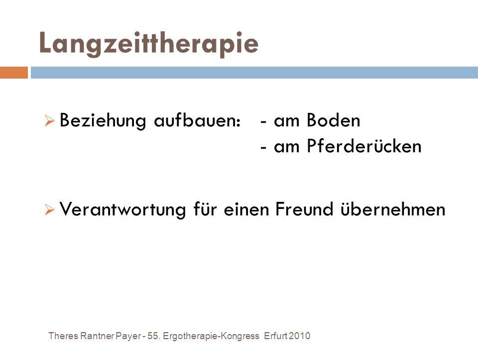 Langzeittherapie Beziehung aufbauen: - am Boden - am Pferderücken Verantwortung für einen Freund übernehmen Theres Rantner Payer - 55. Ergotherapie-Ko