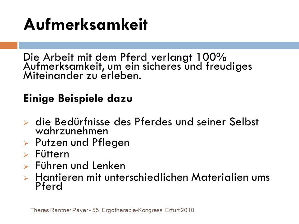 Aufmerksamkeit Theres Rantner Payer - 55. Ergotherapie-Kongress Erfurt 2010 Die Arbeit mit dem Pferd verlangt 100% Aufmerksamkeit, um ein sicheres und