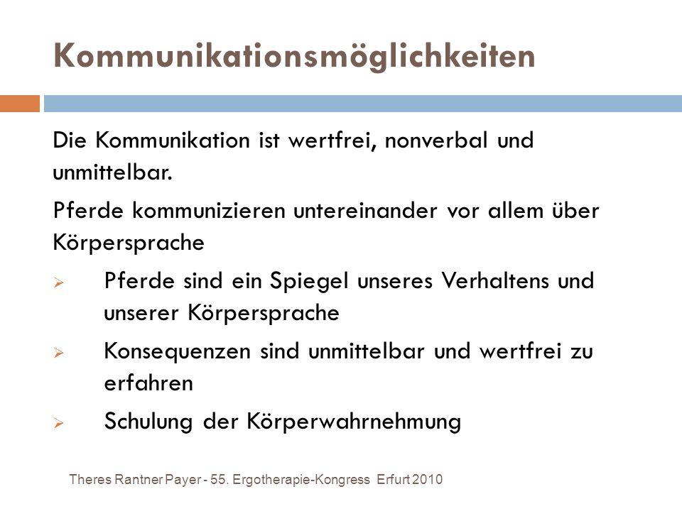 Kommunikationsmöglichkeiten Theres Rantner Payer - 55. Ergotherapie-Kongress Erfurt 2010 Die Kommunikation ist wertfrei, nonverbal und unmittelbar. Pf