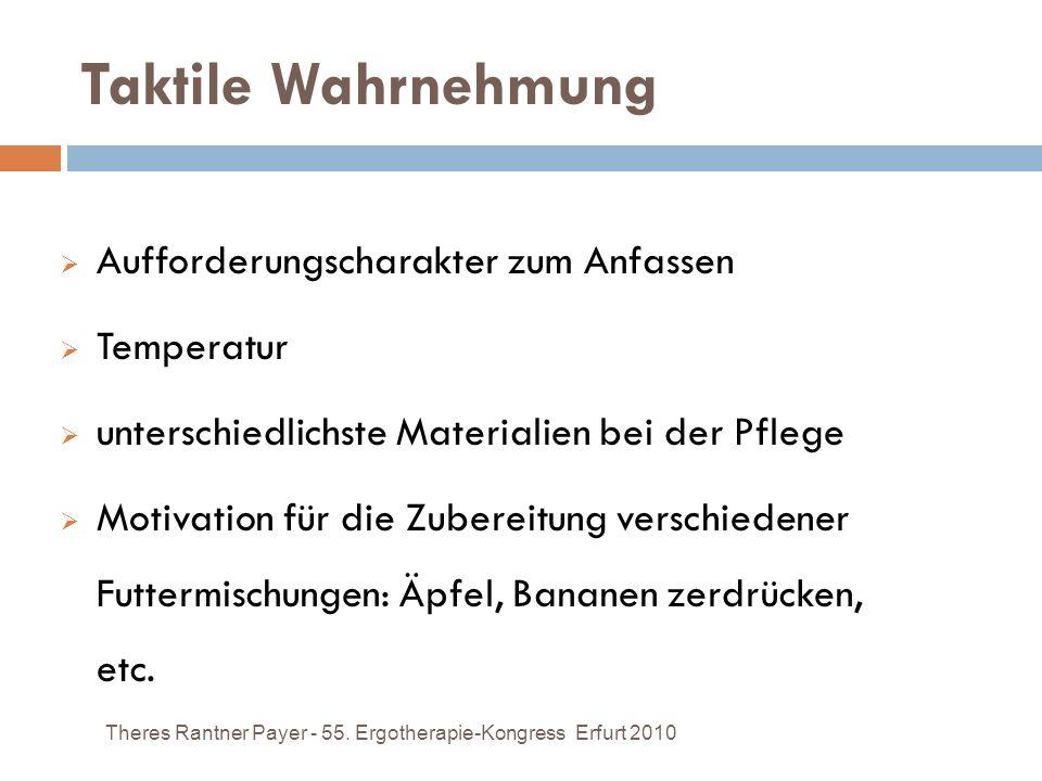 Taktile Wahrnehmung Theres Rantner Payer - 55. Ergotherapie-Kongress Erfurt 2010 Aufforderungscharakter zum Anfassen Temperatur unterschiedlichste Mat