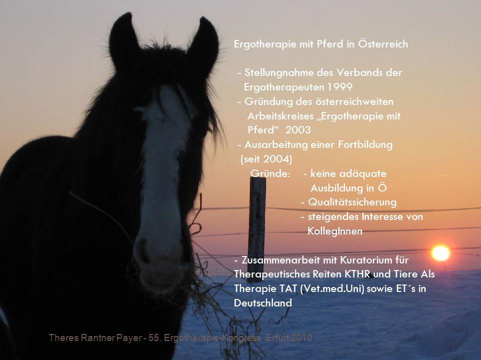 Ergotherapie mit Pferd in Österreich - Stellungnahme des Verbands der Ergotherapeuten 1999 - Gründung des österreichweiten Arbeitskreises Ergotherapie