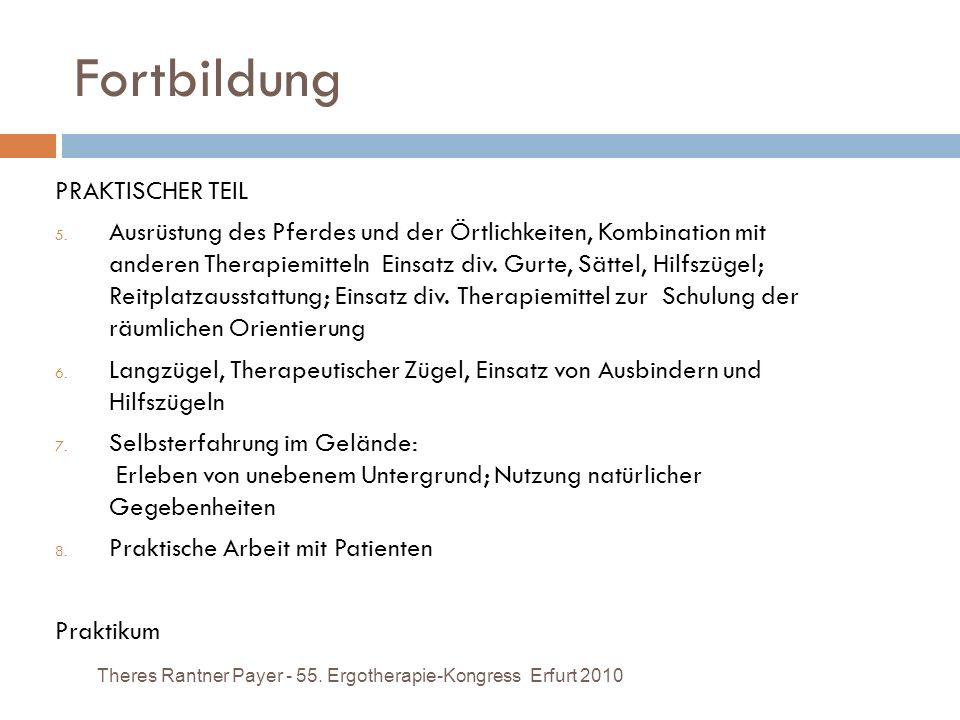 Fortbildung Theres Rantner Payer - 55. Ergotherapie-Kongress Erfurt 2010 PRAKTISCHER TEIL 5. Ausrüstung des Pferdes und der Örtlichkeiten, Kombination