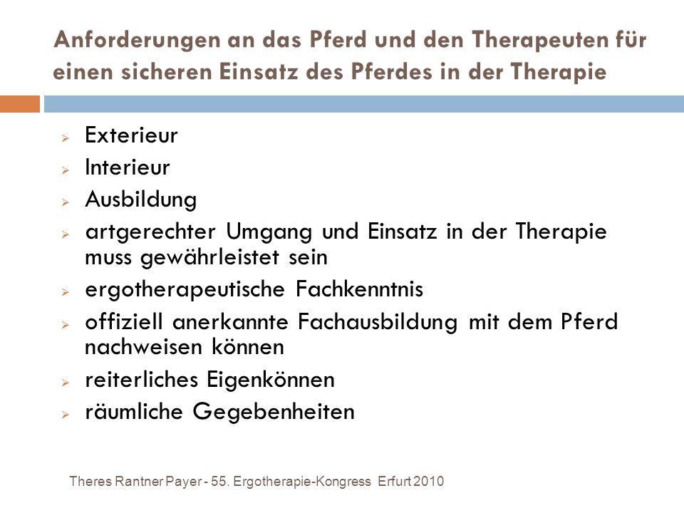 Anforderungen an das Pferd und den Therapeuten für einen sicheren Einsatz des Pferdes in der Therapie Theres Rantner Payer - 55. Ergotherapie-Kongress