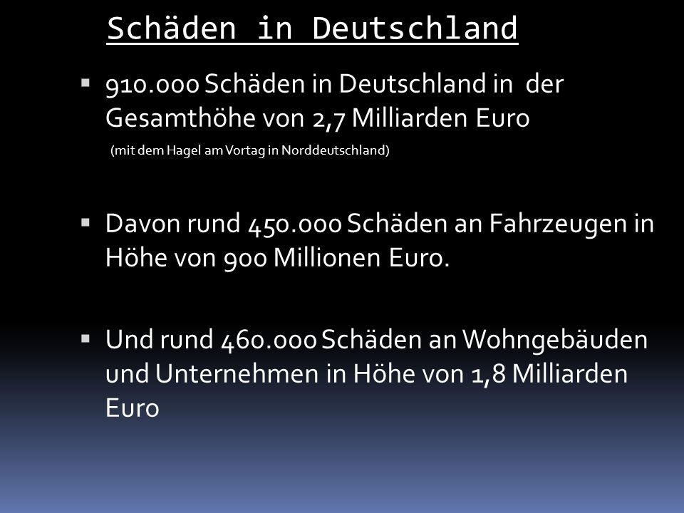 910.000 Schäden in Deutschland in der Gesamthöhe von 2,7 Milliarden Euro (mit dem Hagel am Vortag in Norddeutschland) Davon rund 450.000 Schäden an Fahrzeugen in Höhe von 900 Millionen Euro.
