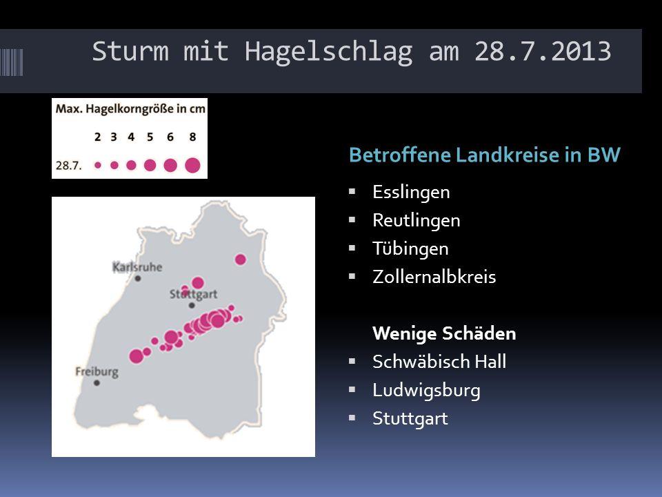 Sturm mit Hagelschlag am 28.7.2013 Betroffene Landkreise in BW Esslingen Reutlingen Tübingen Zollernalbkreis Wenige Schäden Schwäbisch Hall Ludwigsburg Stuttgart