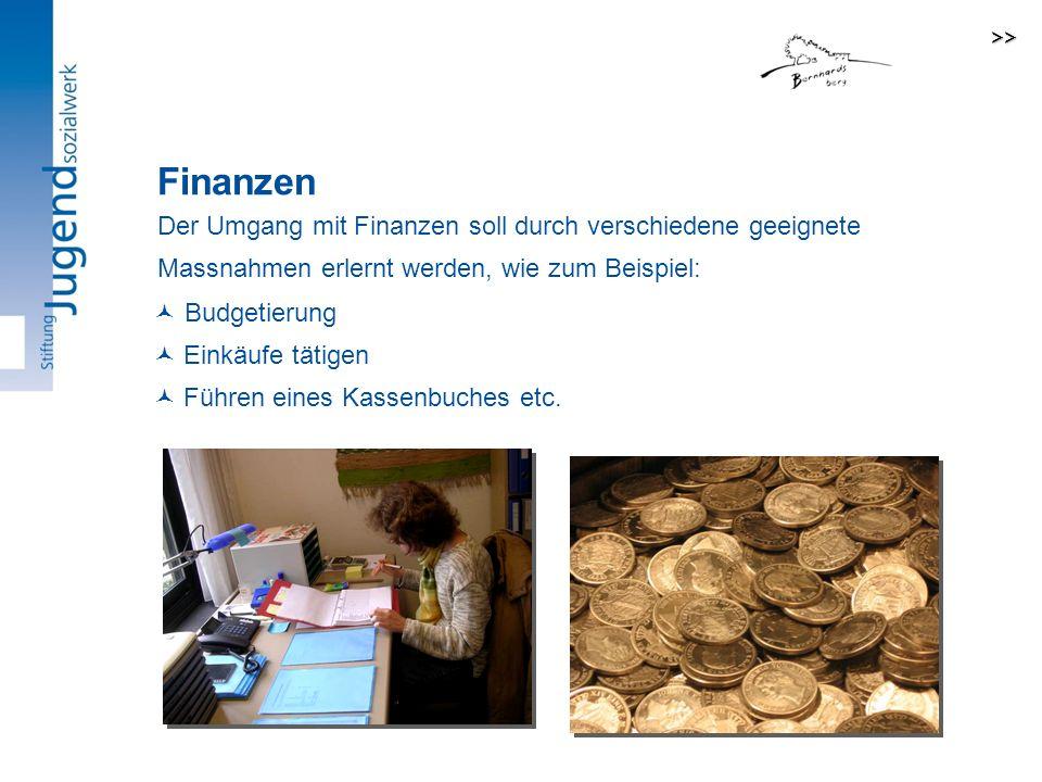 Der Umgang mit Finanzen soll durch verschiedene geeignete Massnahmen erlernt werden, wie zum Beispiel: Budgetierung Einkäufe tätigen Führen eines Kassenbuches etc.