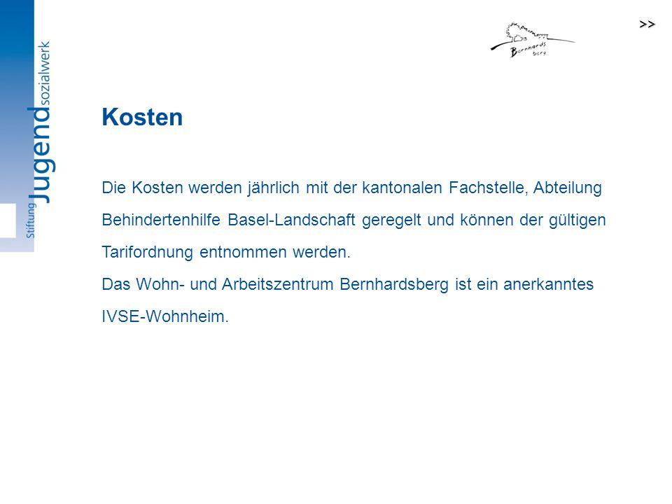 Die Kosten werden jährlich mit der kantonalen Fachstelle, Abteilung Behindertenhilfe Basel-Landschaft geregelt und können der gültigen Tarifordnung entnommen werden.