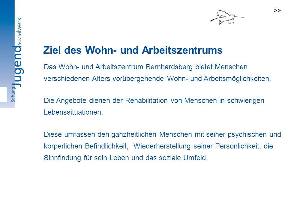 Das Wohn- und Arbeitszentrum Bernhardsberg bietet Menschen verschiedenen Alters vorübergehende Wohn- und Arbeitsmöglichkeiten..