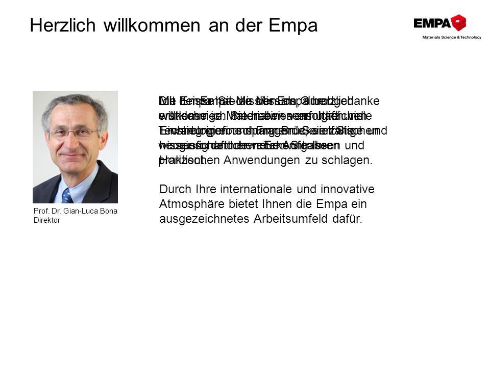 Mission Die Empa – Brücke zwischen Forschung und Praxis anwendungsorientierte Materialforschung und Technologieentwicklung interdisziplinäres Know-how effizienter Technologietransfer zum Nutzen der Wirtschaft zum Wohl der Gesellschaft der Exzellenz verpflichtet