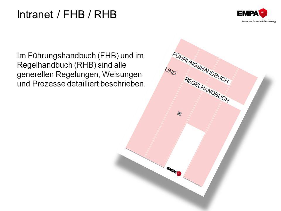 Intranet / FHB / RHB Im Führungshandbuch (FHB) und im Regelhandbuch (RHB) sind alle generellen Regelungen, Weisungen und Prozesse detailliert beschrie