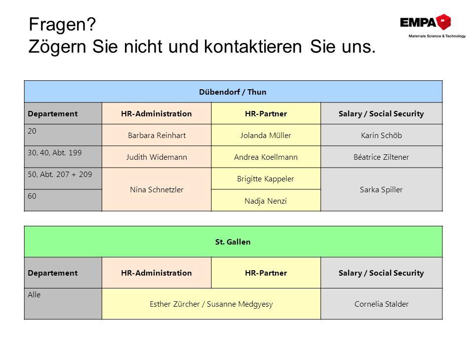 Fragen? Zögern Sie nicht und kontaktieren Sie uns. Dübendorf / Thun DepartementHR-AdministrationHR-PartnerSalary / Social Security 20 Barbara Reinhart