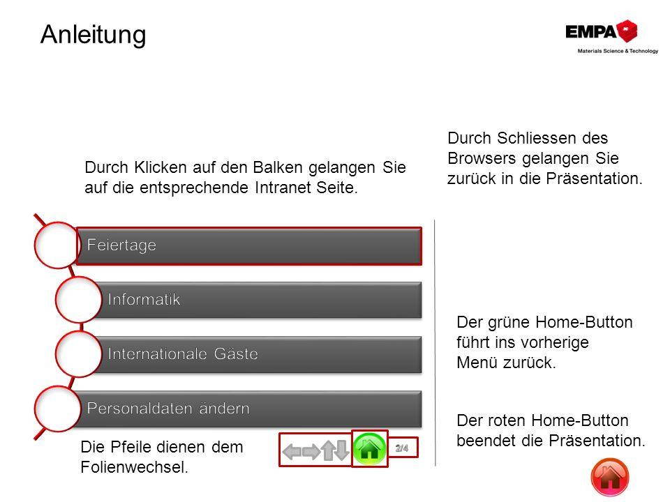 Anleitung 2/4 Die Pfeile dienen dem Folienwechsel. Der grüne Home-Button führt ins vorherige Menü zurück. Der roten Home-Button beendet die Präsentati