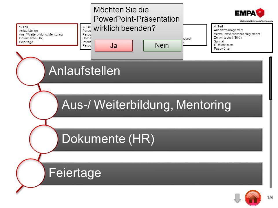 Anlaufstellen Aus-/ Weiterbildung, Mentoring Dokumente (HR) Feiertage 1. Teil Anlaufstellen Aus-/ Weiterbildung, Mentoring Dokumente (HR) Feiertage 2.
