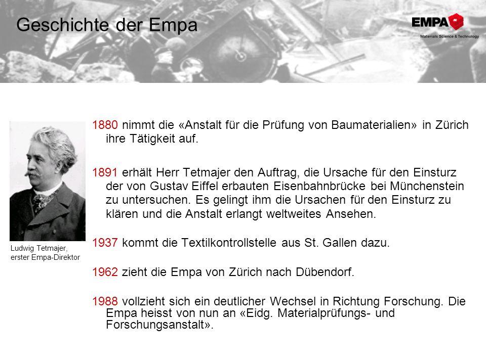 1880 nimmt die «Anstalt für die Prüfung von Baumaterialien» in Zürich ihre Tätigkeit auf. 1891 erhält Herr Tetmajer den Auftrag, die Ursache für den E
