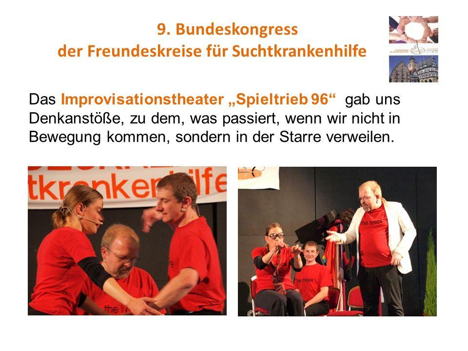 9. Bundeskongress der Freundeskreise für Suchtkrankenhilfe Das Improvisationstheater Spieltrieb 96 gab uns Denkanstöße, zu dem, was passiert, wenn wir
