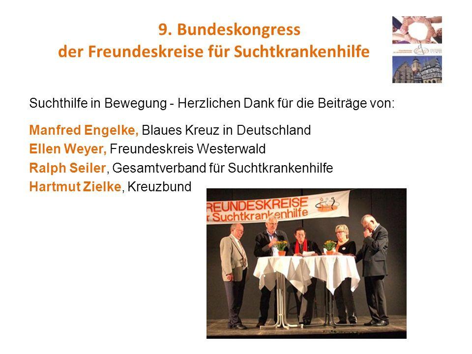 9. Bundeskongress der Freundeskreise für Suchtkrankenhilfe Suchthilfe in Bewegung - Herzlichen Dank für die Beiträge von: Manfred Engelke, Blaues Kreu