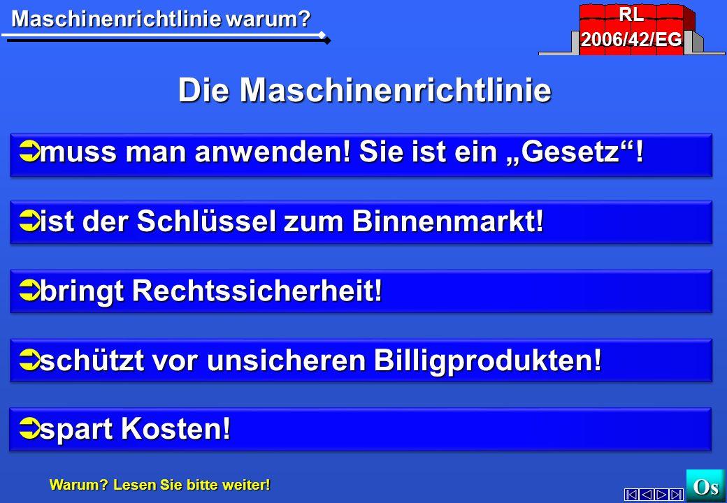 Warum? Maschinen-RichtlinieAnwenden? http://www.maschinenrichtlinie.dehttp://www.maschinenrichtlinie.de OsOs 2006/42/EG2006/42/EG