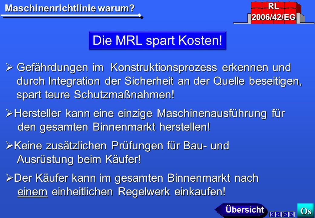 Maschinenrichtlinie warum? Os Die MRL schützt vor unsicheren Billigprodukten! Die Marktüberwachung muss unsichere Produkte Die Marktüberwachung muss u