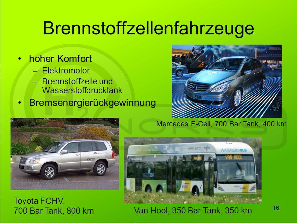 Brennstoffzellenfahrzeuge hoher Komfort –Elektromotor –Brennstoffzelle und Wasserstoffdrucktank Bremsenergierückgewinnung 16 Mercedes F-Cell, 700 Bar