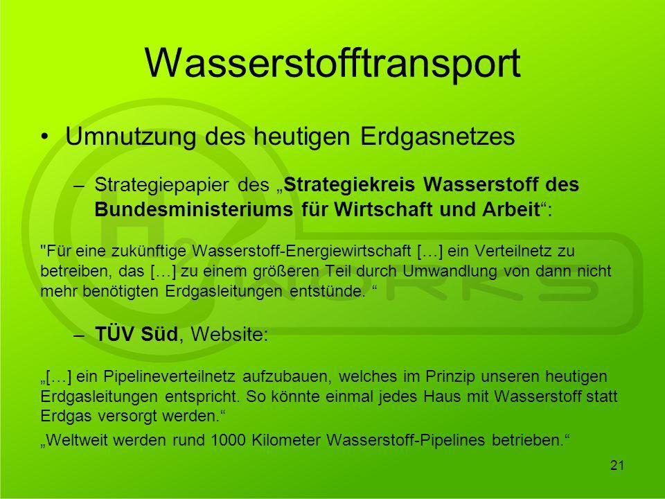 Wasserstofftransport Umnutzung des heutigen Erdgasnetzes –Strategiepapier des Strategiekreis Wasserstoff des Bundesministeriums für Wirtschaft und Arb
