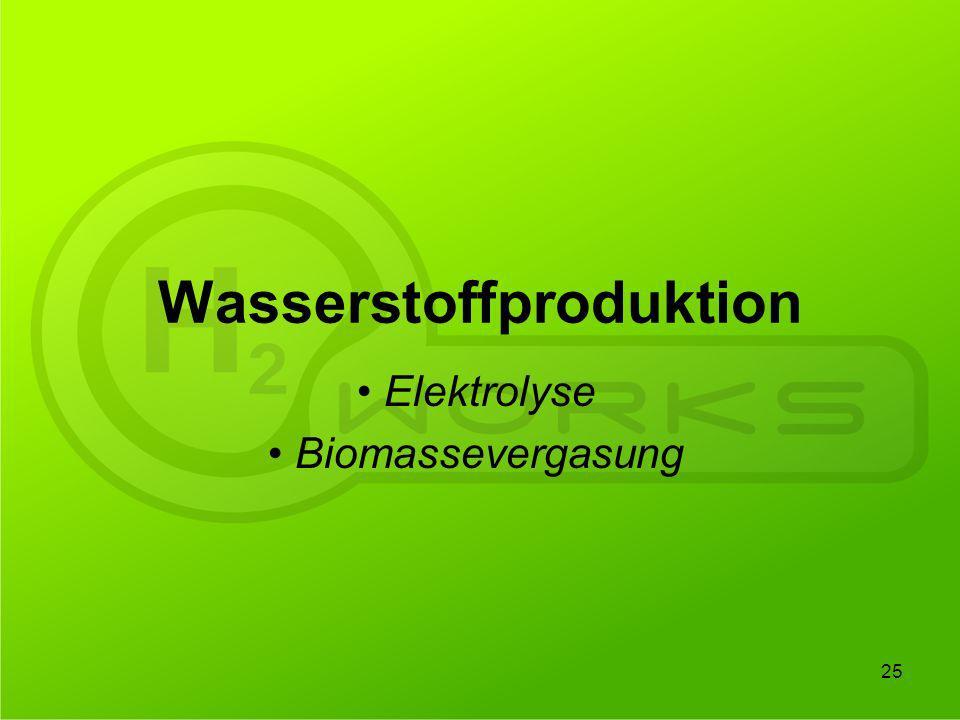 Wasserstoffproduktion Elektrolyse Biomassevergasung 25