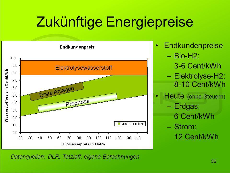 Zukünftige Energiepreise Erste Anlagen Prognose Endkundenpreise –Bio-H2: 3-6 Cent/kWh –Elektrolyse-H2: 8-10 Cent/kWh Heute (ohne Steuern) –Erdgas: 6 C