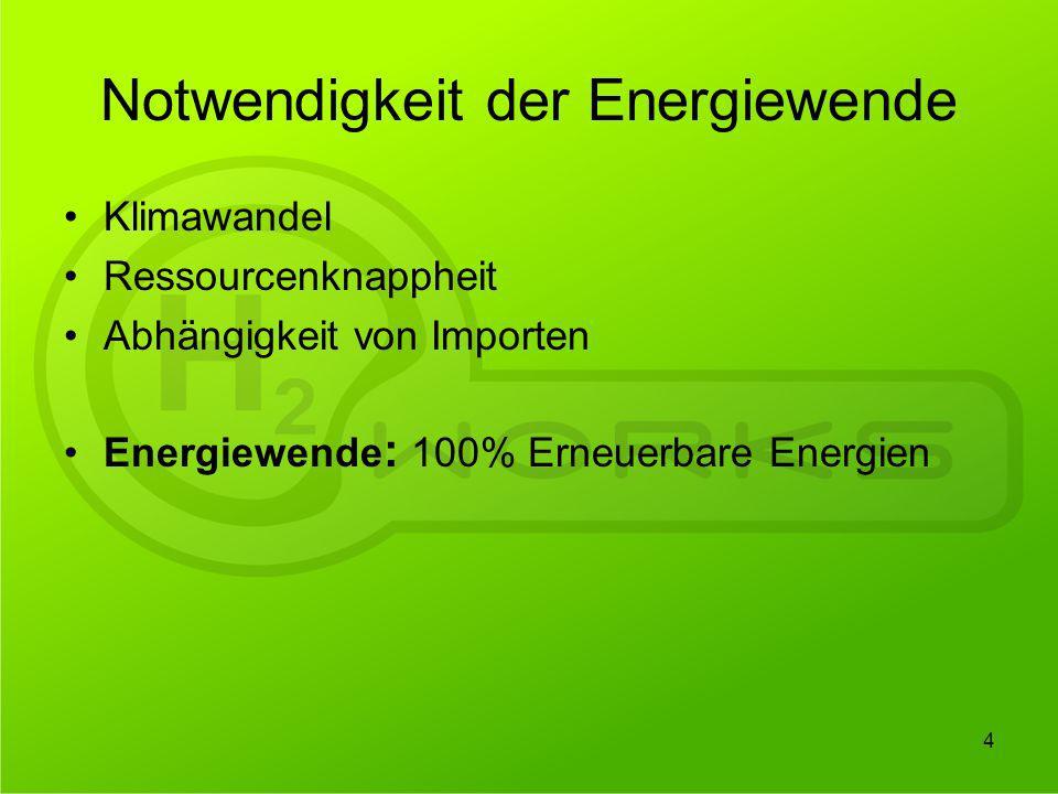 Notwendigkeit der Energiewende Klimawandel Ressourcenknappheit Abhängigkeit von Importen Energiewende : 100% Erneuerbare Energien 4