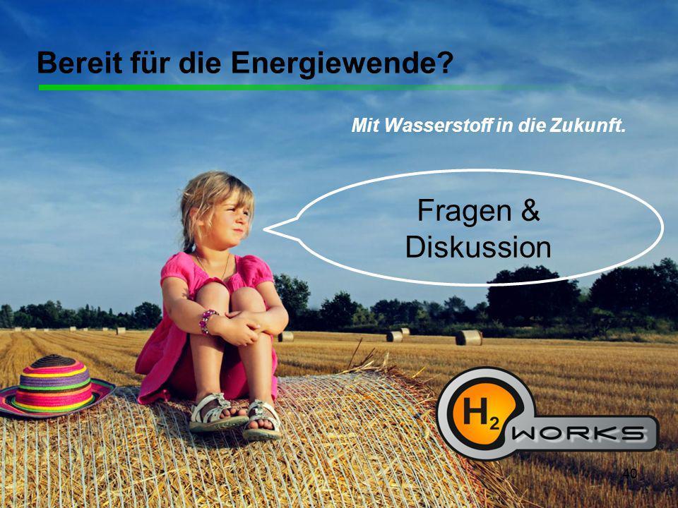 40 Bereit für die Energiewende? Mit Wasserstoff in die Zukunft. Fragen & Diskussion